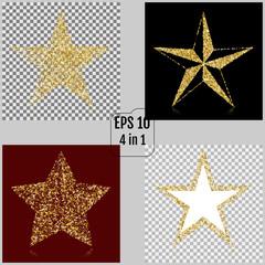 Set of Golden Christmas stars. Vector illustrations. 4 in 1