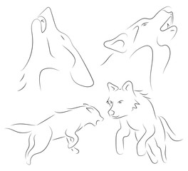 Black line wolfs on white background. Hand drawn linear sketch. Vector graphic animal.