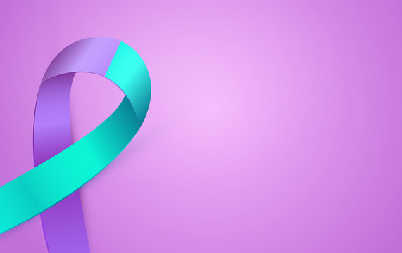 3d Purple Blue ribbon card to Suicide Prevention Awareness Month. Double colour Ribbon poster.