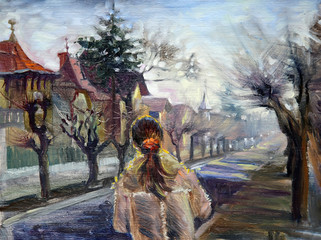 Painting of the girl walking in the old city