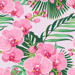 Seamless floral pattern with bright pink purple orchid phalaenopsis on light pink background with green jungle palm tree exotice tropical leaves.