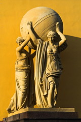 Sea nymphs bearing terrestrial sphere. Sculptural groups decorating the Admiralty building in St. Petersburg.