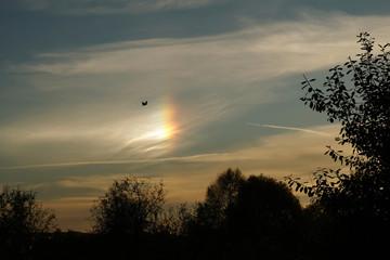 Fototapeta Zjawisko hallo na niebie - słońce poboczne, niby tęcza wśród chmur, przed zachodem słońca