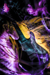 Powerful electric guitar with violet and yellow ligths