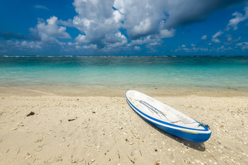 kayaking to the reef on the  beach of Pandava,  Bali. Indonesia