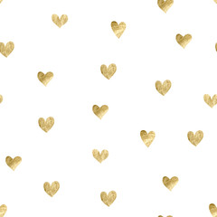 Seamless pattern with gold hearts - 230297393