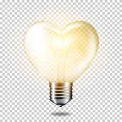 Wall Mural - Transparent realistic ligth bulb heart, isolated.