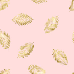 Seamless pink pattern with gold branches
