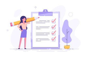 Positive business woman with a giant pencil on his shoulder nearby marked checklist on a clipboard paper. Successful completion of business tasks. Flat vector illustration.