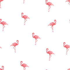 Seamless patterns with pink flamingo