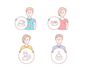 People hand drawn style. Set of Speedometer, Remove account and Santa hat icons. Share sign. Time concept, Delete user, Christmas. Referral person.  Character hold circle button. Man with like hand