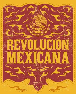 Revolucion Mexicana, mexican revolution spanish text, holiday vector poster