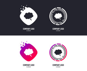 Logotype concept. Comic speech bubble sign icon. Chat think symbol. Logo design. Colorful buttons with icons. Comic speech bubble vector