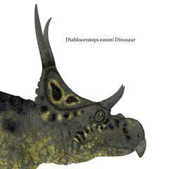 Diabloceratops Dinosaur Head with Font
