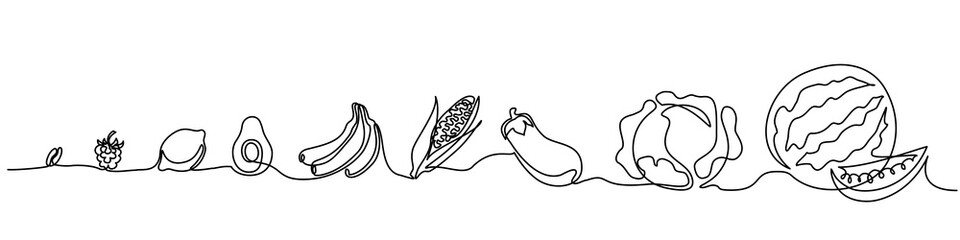 Continuous one line drawing. Vegetables different size from small till big. Vector illustration