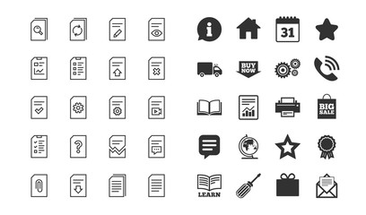 Document Management line icons. Set of Report, Checklist and Copy signs. Download document file, Remove and Attach clip. Search, Edit report and Corrupt file. Information checklist, calendar. Vector