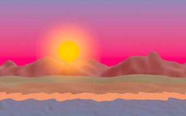 Sun Sea Beach. Sunset. Ocean shore line with waves on a beach. Island beach paradise with waves. Vacation, summer, relaxation. Seascape, seashore. Minimalist landscape, primitivism. 3D illustration