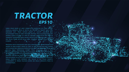 Tractor particles. The tractor consists of small circles and dots. Vector illustration.