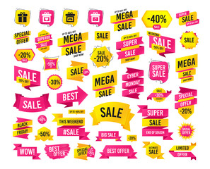 Sale banner. Super mega discounts. Gift box sign icons. Present with bow and ribbons symbols. Engagement ring sign. Video game joystick. Black friday sale. Cyber monday discount. Vector banner
