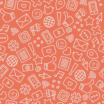 Social media seamless pattern. Internet messenger background. Vector illustration