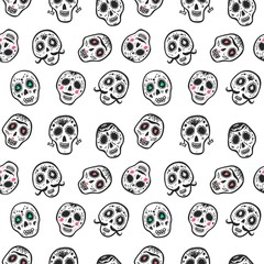 Seamless pattern with funny skulls. Day of the dead.