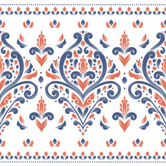 Blue and orange seamless pattern. Vintage vector, paisley elements. Traditional,Turkish, Indian motifs. Great for fabric and textile, wallpaper, packaging or any desired idea.
