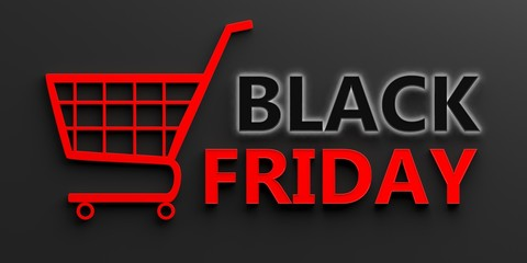 Black Friday text and a shopping cart isolated on black background. 3d illustration