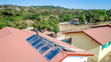 Africa Guinea Solarpanel on shool roof aerial drone development