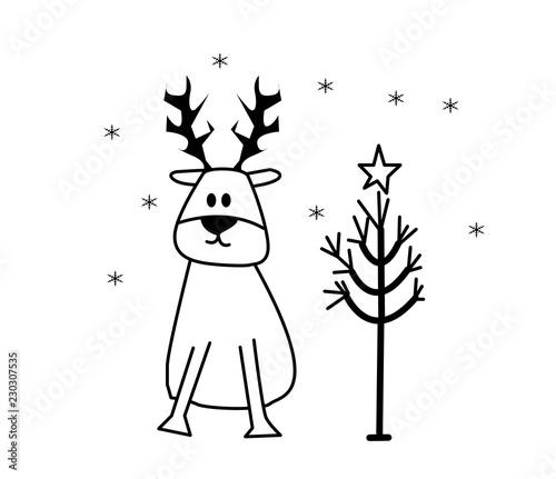 Immagini Di Natale In Bianco E Nero.Albero Di Natale E Renna In Bianco E Nero Stock Photo And