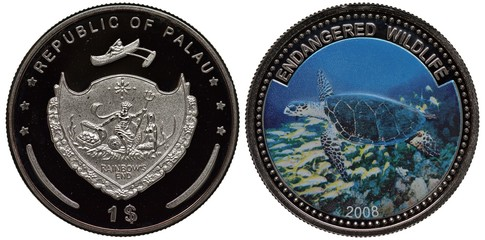 Palau Palauan coin 1 one dollar 2008, subject Endangered Wildlife, arms, shield with sea king holding trident, chest with coins and mermaid, sea tortoise,