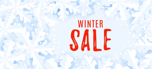 Horizontal web banner for web. Winter sale background.