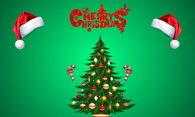 Marry christmas, post with santa hats and christmas tree with candies, over green background