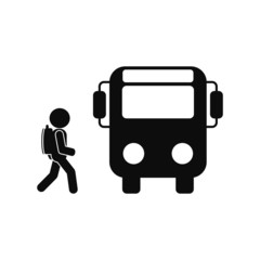 bus, pupil vector icon