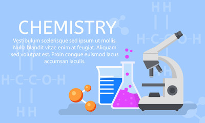 Chemistry lab concept background. Flat illustration of chemistry lab vector concept background for web design