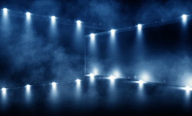 background of empty room, lamps, neon light, smoke, fog,