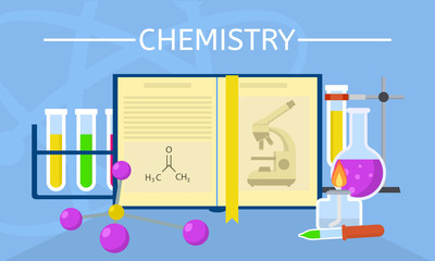 Chemistry experiment concept background. Flat illustration of chemistry experiment vector concept background for web design