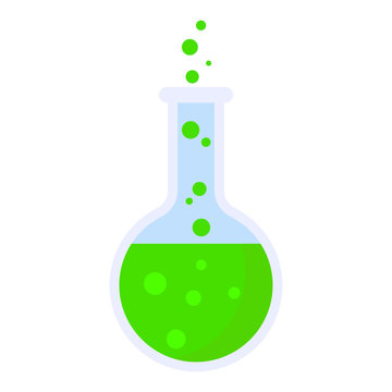 Boiling green flask icon. Flat illustration of boiling green flask vector icon for web design
