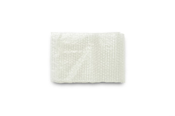 White Bubble Wrap Packing Or Air Cushion Film on white background, Close Up, Top View, Copy Space