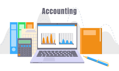Accounting laptop concept background. Flat illustration of accounting laptop vector concept background for web design