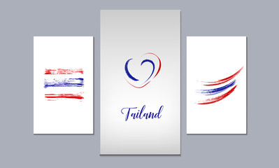 A set of 3 canvases for wall decoration in the living room, office, bedroom, kitchen, office. Home decor of the walls. Abstract hand painted flag of Thailand. Vector element for design.