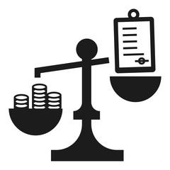 Money bribery balance icon. Simple illustration of money bribery balance vector icon for web design isolated on white background