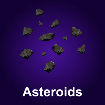 Asteroids icon. Isometric of asteroids vector icon for web design