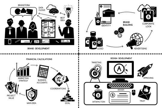 Brand identity banner set. Simple illustration of brand identity vector banner set for web design