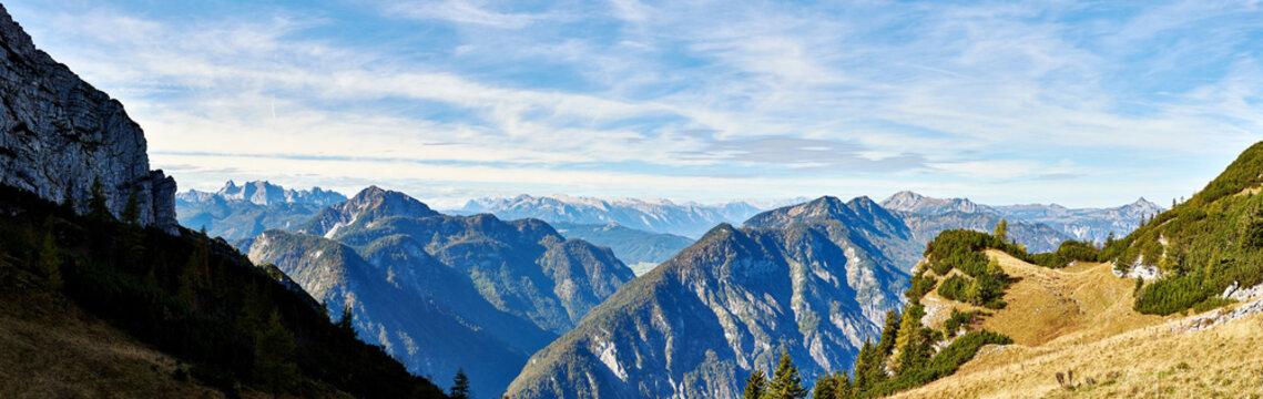 A Big panoramic photo of the Austrian alps. Salzkammergut region.