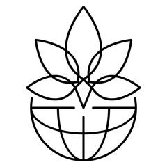 Leaf marijuana logo. Outline leaf marijuana vector logo for web design isolated on white background