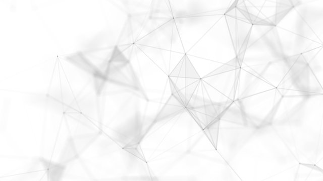Abstract white futuristic background. White background. connecting dots and lines on white background. 4k rendering.