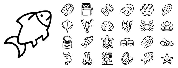 Seafood icon set. Outline set of seafood vector icons for web design isolated on white background