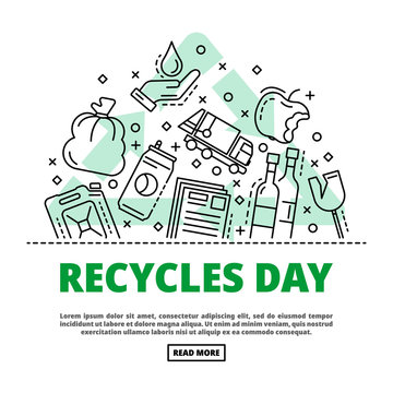 Recycles day concept background. Outline illustration of recycles day vector concept background for web design
