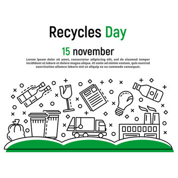 November recycles day concept background. Outline illustration of november recycles day vector concept background for web design