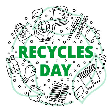 Recycles clean day concept background. Outline illustration of recycles clean day vector concept background for web design